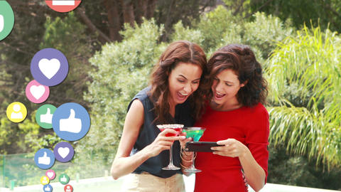Two ladies taking selfies while drinking cocktails 4k Animation