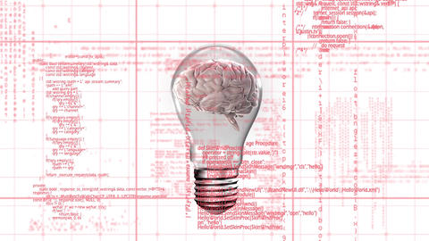 Brain inside a light bulb Animation