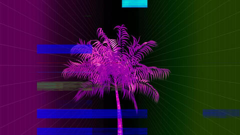 Purple palm on a colorful background with TV crackling animation Animation