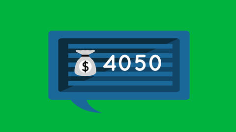 Money bag icon and numbers 4k Animation