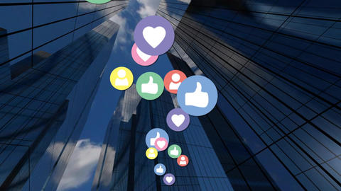 Buildings and social media icons Animation