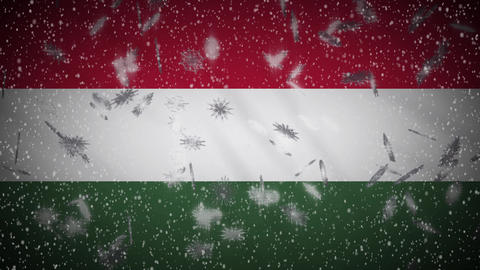 Hungary flag falling snow loopable, New Year and Christmas background, loop Animation