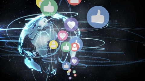 Social media icons and globe Animation