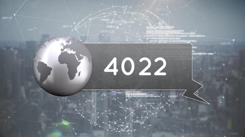 Globe icon with numbers Animation