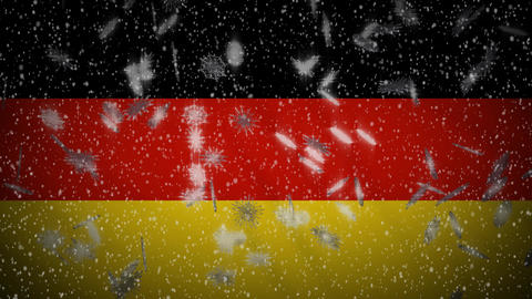 Germany flag falling snow loopable, New Year and Christmas background, loop Animation