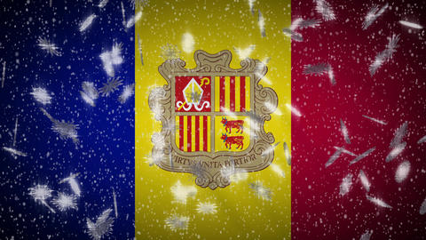 Andorra flag falling snow loopable, New Year and Christmas background, loop Animation