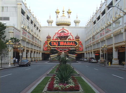 The entrance to a casino in Atlantic City flashes a neon sign Footage