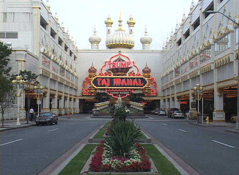 The entrance to a casino in Atlantic City flashes a neon... Stock Video Footage