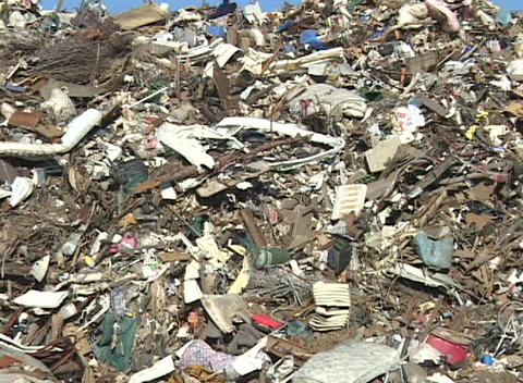 The debris left in the aftermath of Hurricane Katrina... Stock Video Footage