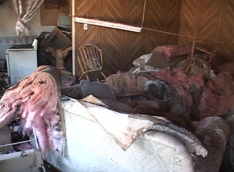 The devastation in a home shows the strength of Hurricane... Stock Video Footage