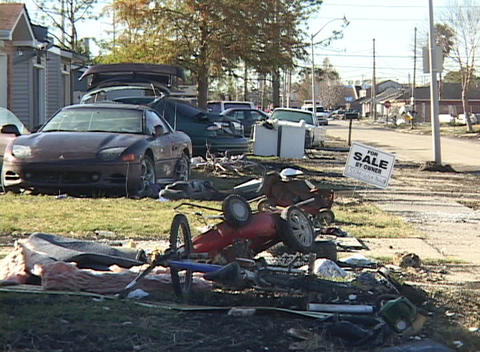 A devastated neighborhood shows the aftermath of... Stock Video Footage