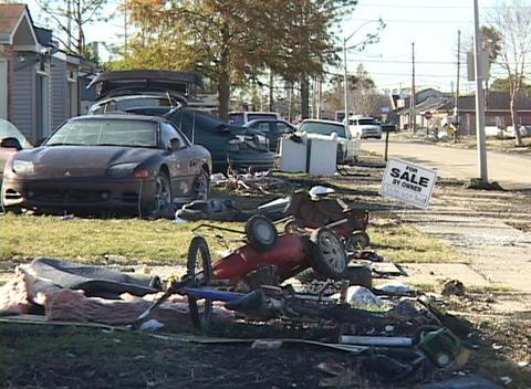 A devastated neighborhood shows the aftermath of Hurricane Katrina Footage