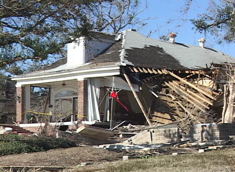 A home shows the complete destruction caused Hurricane Katrina Footage