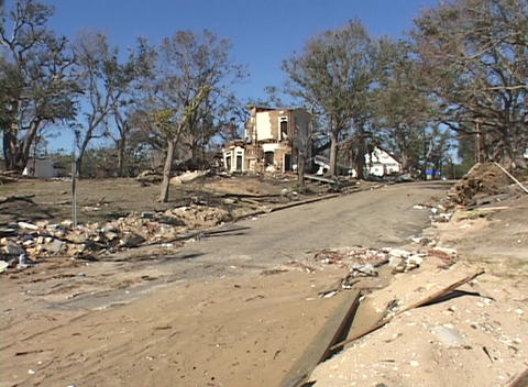 A neighborhood completely destroyed shows the devastation caused by Hurricane Katrina Footage