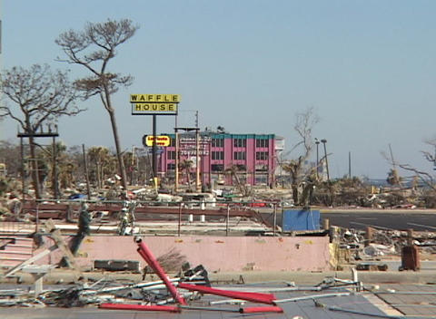 A wrecked commercial area shows the destruction of Hurricane Katrina Footage