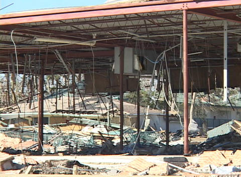The rubble in a commercial structure shows the... Stock Video Footage