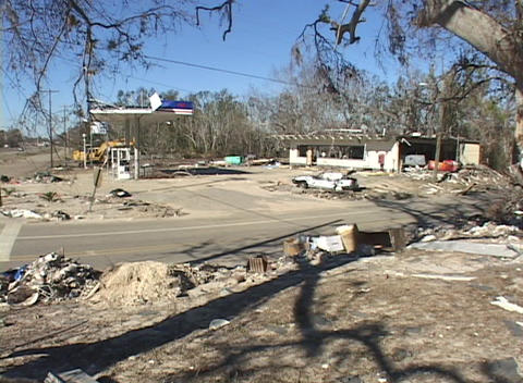 The remains of a gas station business illustrate the... Stock Video Footage