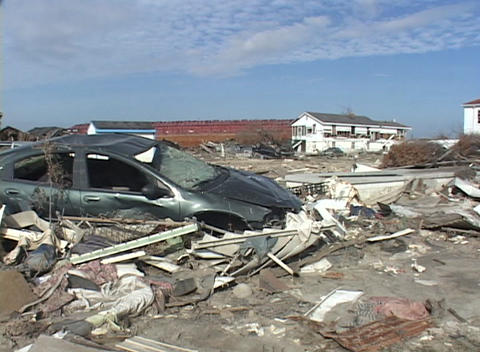 Cars and debris show the destruction caused by Hurricane Katrina Footage