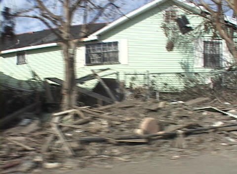 A neighborhood shows the destruction caused by Hurricane Katrina Footage