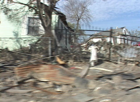 A neighborhood shows the destruction caused by Hurricane... Stock Video Footage