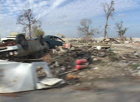 Cars and debris strewn all over show the destruction caused by Hurricane Katrina Footage