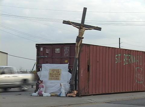 A small shrine adorns a storage bin for St. Bernard... Stock Video Footage
