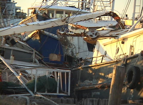 A mass of rubble shows what is left of fishing boats after Hurricane Katrina Footage