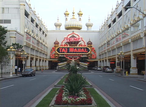 Neon signs mark the entrance to Taj Mahal Casino in Atlantic City Footage