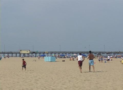 Medium shot of a summer beach scene at Atlantic City, New... Stock Video Footage