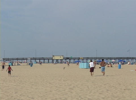 Medium shot of a summer beach scene at Atlantic City, New... Stock Video Footage