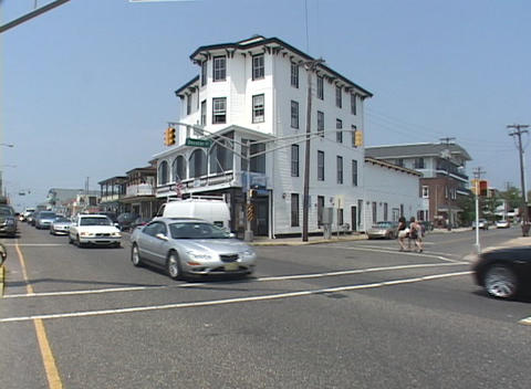 Establishing-shot of a street scene in Cape May, New Jersey Footage