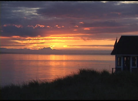Long-shot of golden-hour over Cape Cod, Massachusetts Stock Video Footage