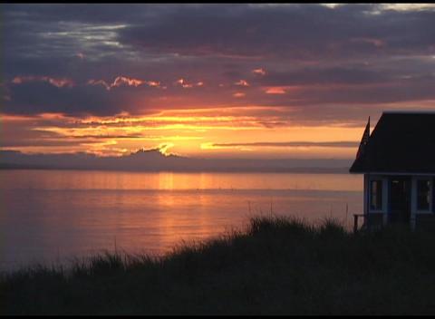 Long-shot of golden-hour over Cape Cod, Massachusetts Stock Video Footage