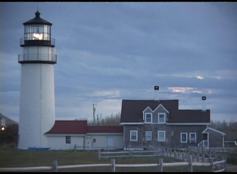 Medium-shot of the Highland Lighthouse on Cape Cod, Massachusetts Footage