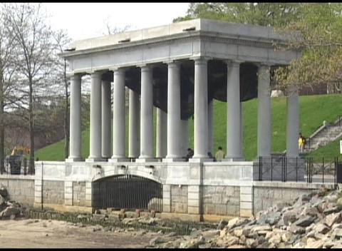 Medium shot of memorial in Plymouth Rock, Massachusetts Footage