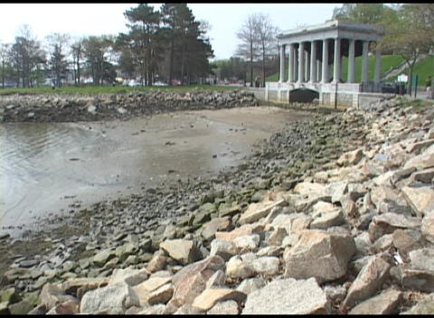 Medium shot of the Plymouth Rock Memorial in Massachusetts Footage