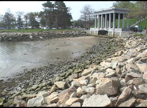 Medium shot of the Plymouth Rock Memorial in Massachusetts Stock Video Footage