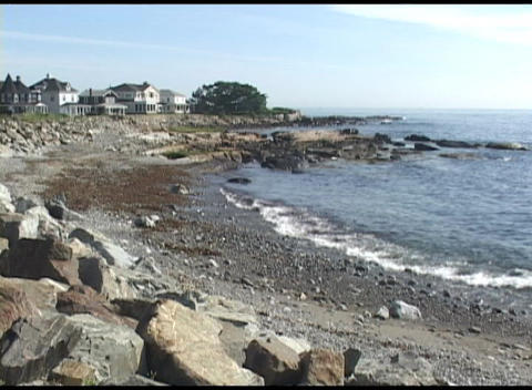 Long-shot of a coastal scene in New Hampshire or elsewhere in New England Footage