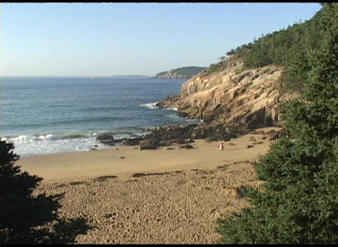 Establishing-shot of a beach in Acadia National Park, Maine Footage