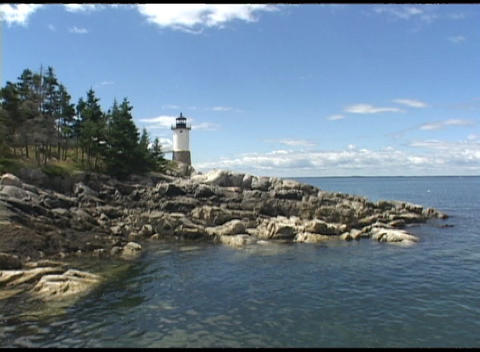 Medium shot of a lighthouse at Acadia National Park Footage