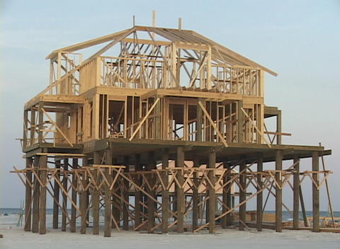 A beach house undergoes reconstruction after Hurricane... Stock Video Footage