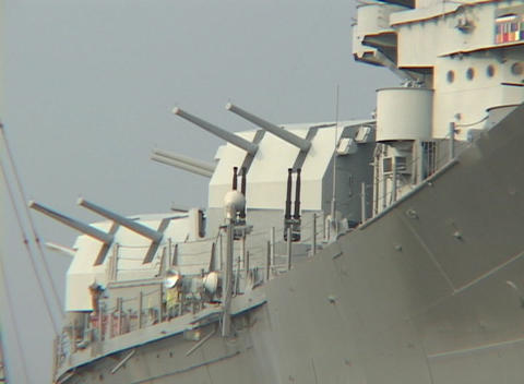 A battleship displays large guns Stock Video Footage