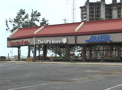 A heavily damaged strip mall stands in the wake of Hurricane Katrina Footage