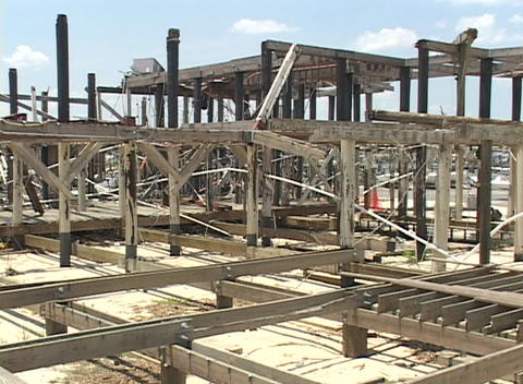 A building frame remains after Hurricane Katrina Stock Video Footage