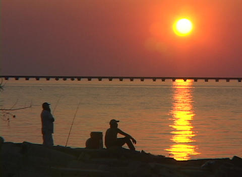 Men fish along the Gulf Coast Footage
