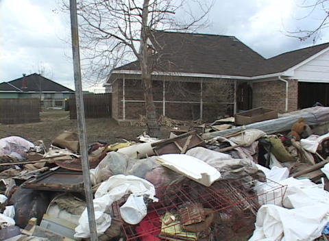 Garbage and refuse is scattered around a neighborhood... Stock Video Footage