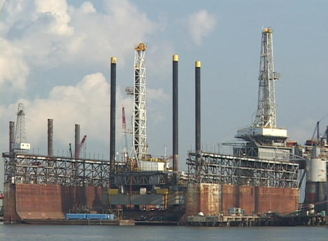 Damaged docks and oil platforms wait for repair following Hurricane Katrina Footage