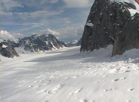 Aerial POV shot flying over an Alaskan glacier field Footage