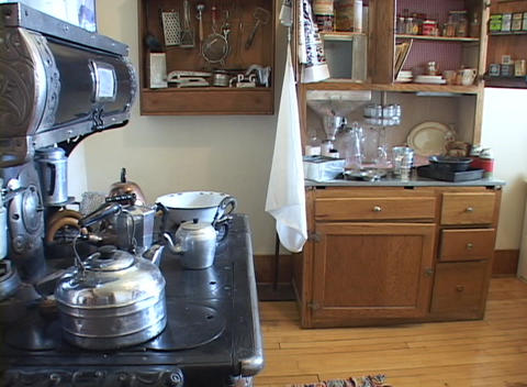 An old country kitchen with stove Stock Video Footage