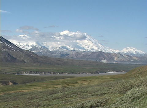 Mt. McKinley in Denali National Park, Alaska Stock Video Footage